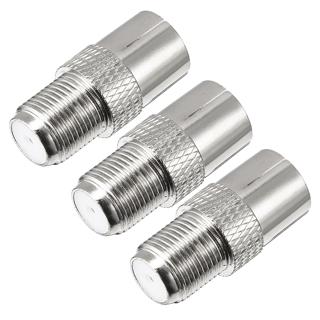 3 Pcs Silver Tone BSP F Female to PAL Female Jack RF Coaxial Adapter Connector