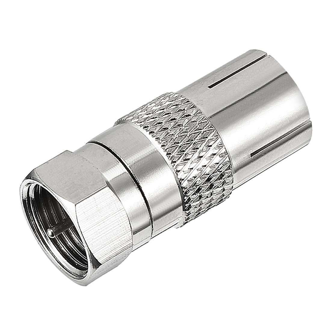 Silver Tone BSP F Male to PAL Female Jack RF Coaxial Adapter Connector