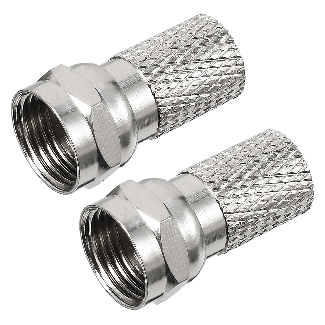 2pcs Silver Tone BSP F Male Jack RF Coax Cable Coaxial Adapter Connector