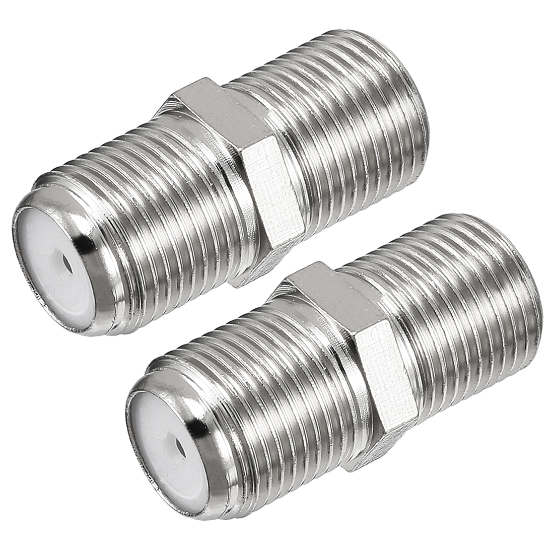2 Pcs Silver Tone BSP F Female to F Female Jack RF Coaxial Adapter Connector