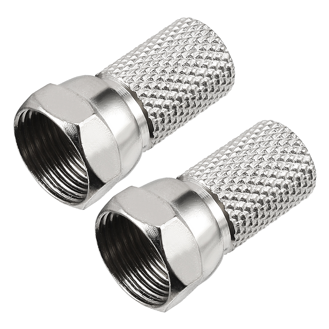 2 Pcs Silver Tone Metric F Male Jack RF Coaxial Adapter Connector