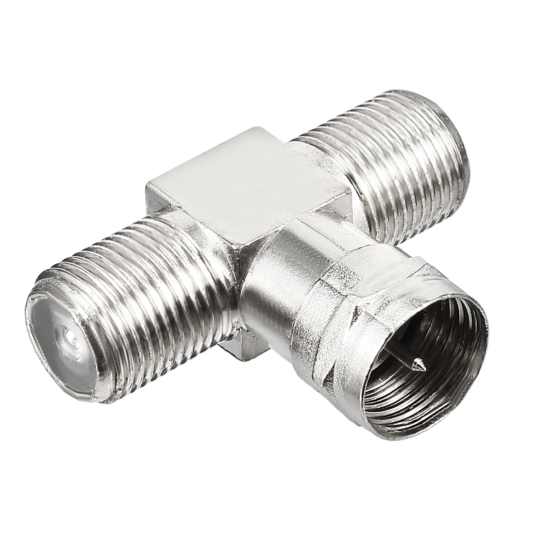 Silver Tone BSP 3 Ways F Male to 2 F Female Jack RF Coaxial Adapter Connector