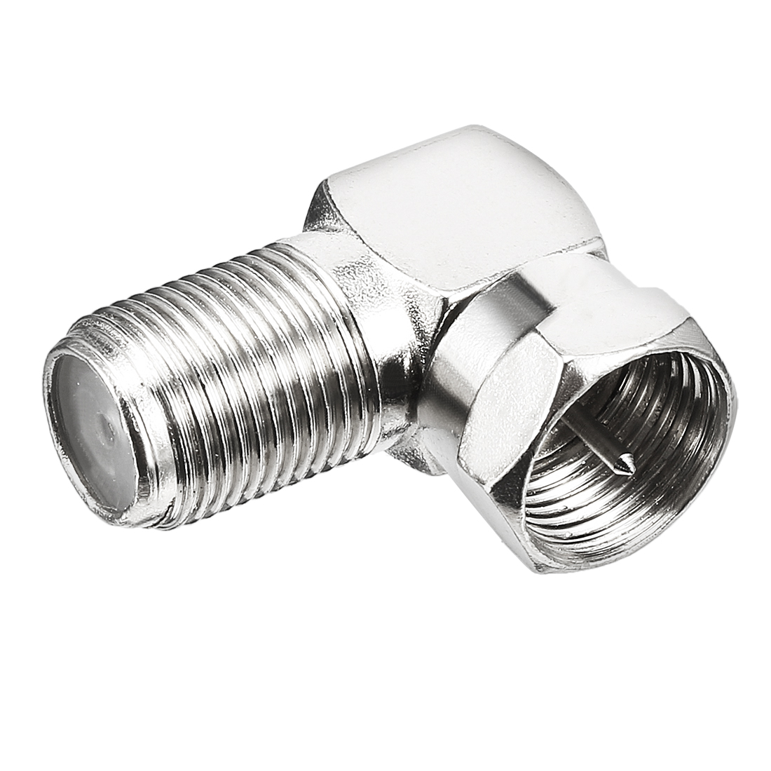 Silver Tone Right-angle BSP F Male to F Female Jack RF Coaxial Adapter Connector