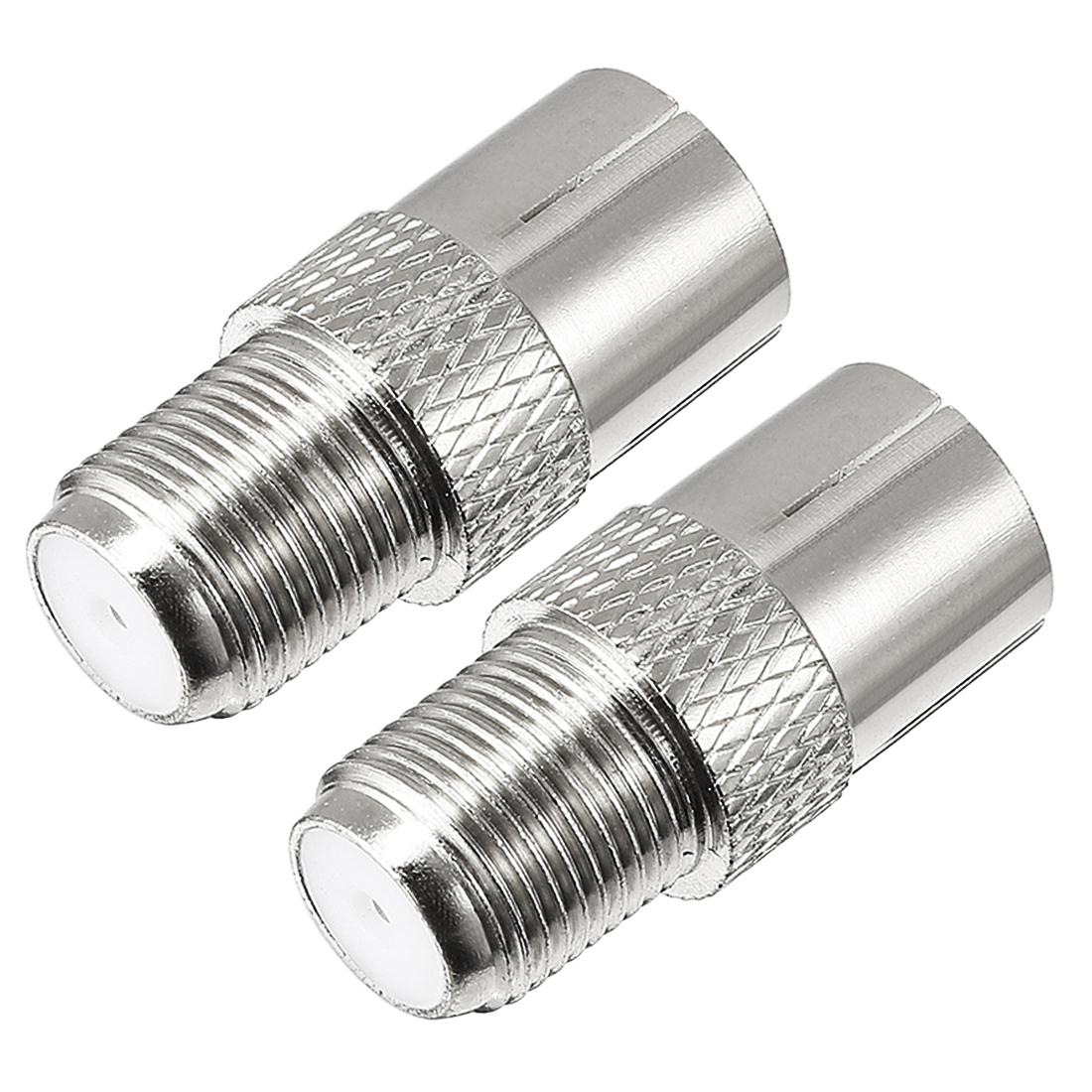 2 Pcs Silver Tone BSP F Female to PAL Female Jack RF Coaxial Adapter Connector
