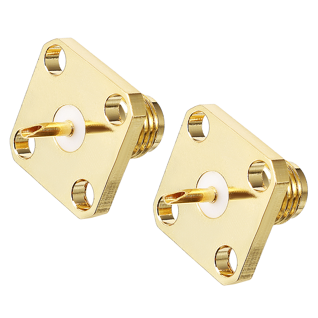 2pcs Gold Tone SMA Female PCB Flange Jack RF Coaxial Adapter Connector