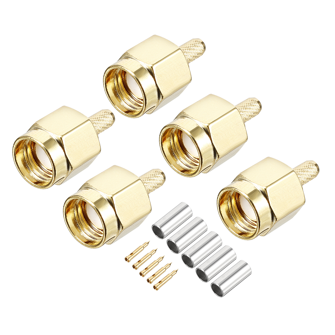5 pcs Gold-plated SMA Male Jack RF Coaxial Adapter Connector