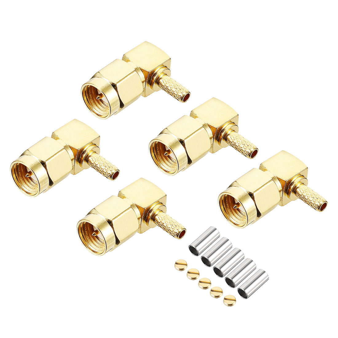 5pcs Gold Tone Right-angle SMA Male Jack RF Coaxial Adapter Connector