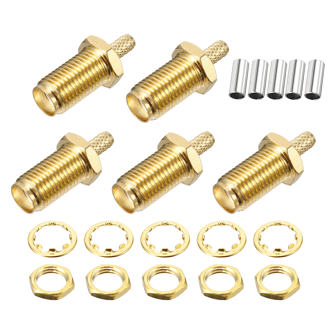 5 Pcs Gold Tone RP-SMA Female Straight Jack RF Coaxial Adapter Connector