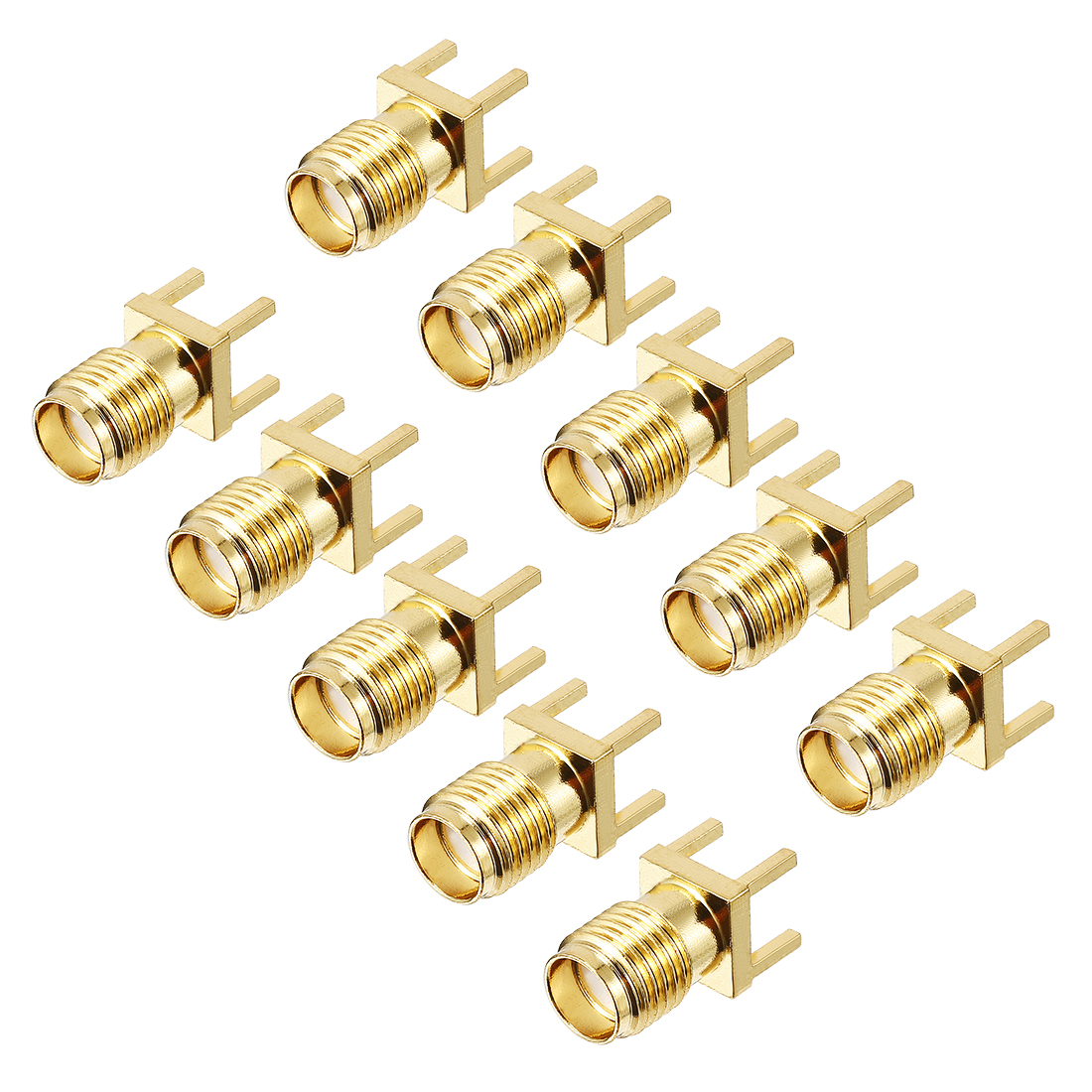 10pcs Gold Tone SMA Female to PCB Positive Pin Jack RF Coaxial Adapter Connector