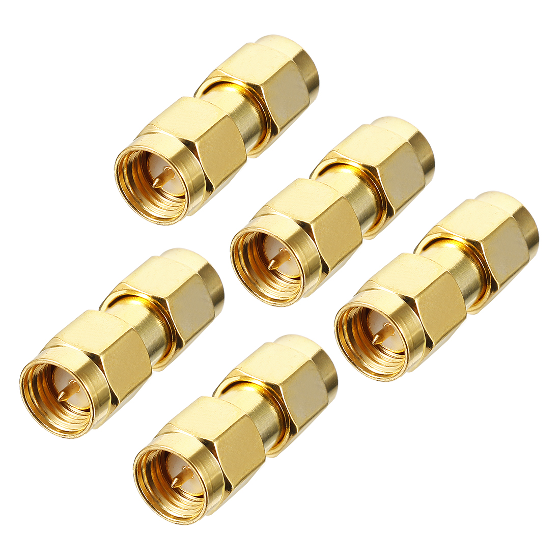 5pcs Gold Tone SMA Male to SMA Male Jack RF Coaxial Adapter Connector