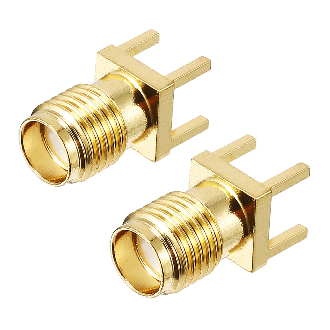 2pcs Gold Tone SMA Female to PCB Positive Pin Jack RF Coaxial Adapter Connector