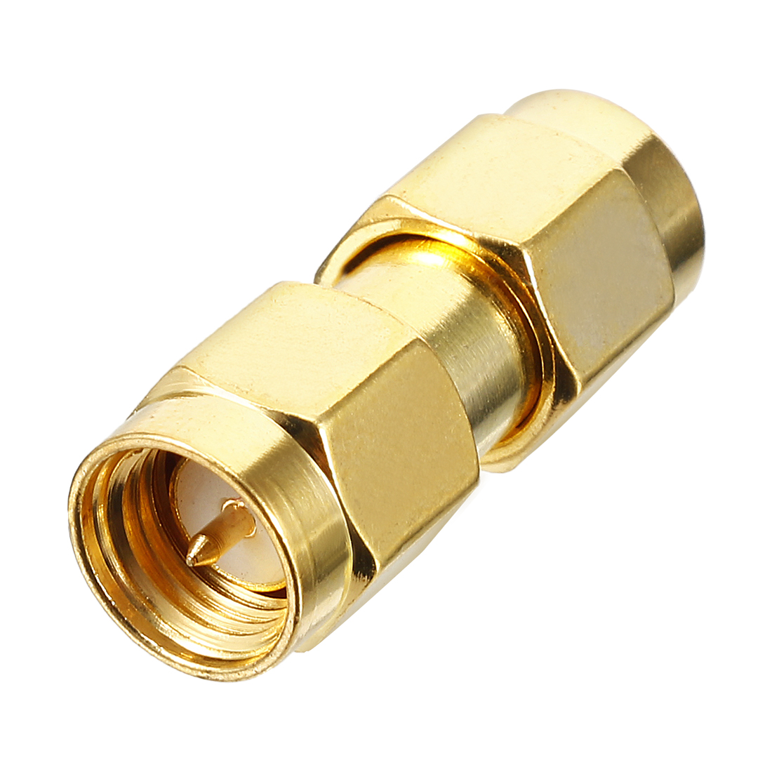 Gold Tone SMA Male to SMA Male Jack RF Coaxial Adapter Connector
