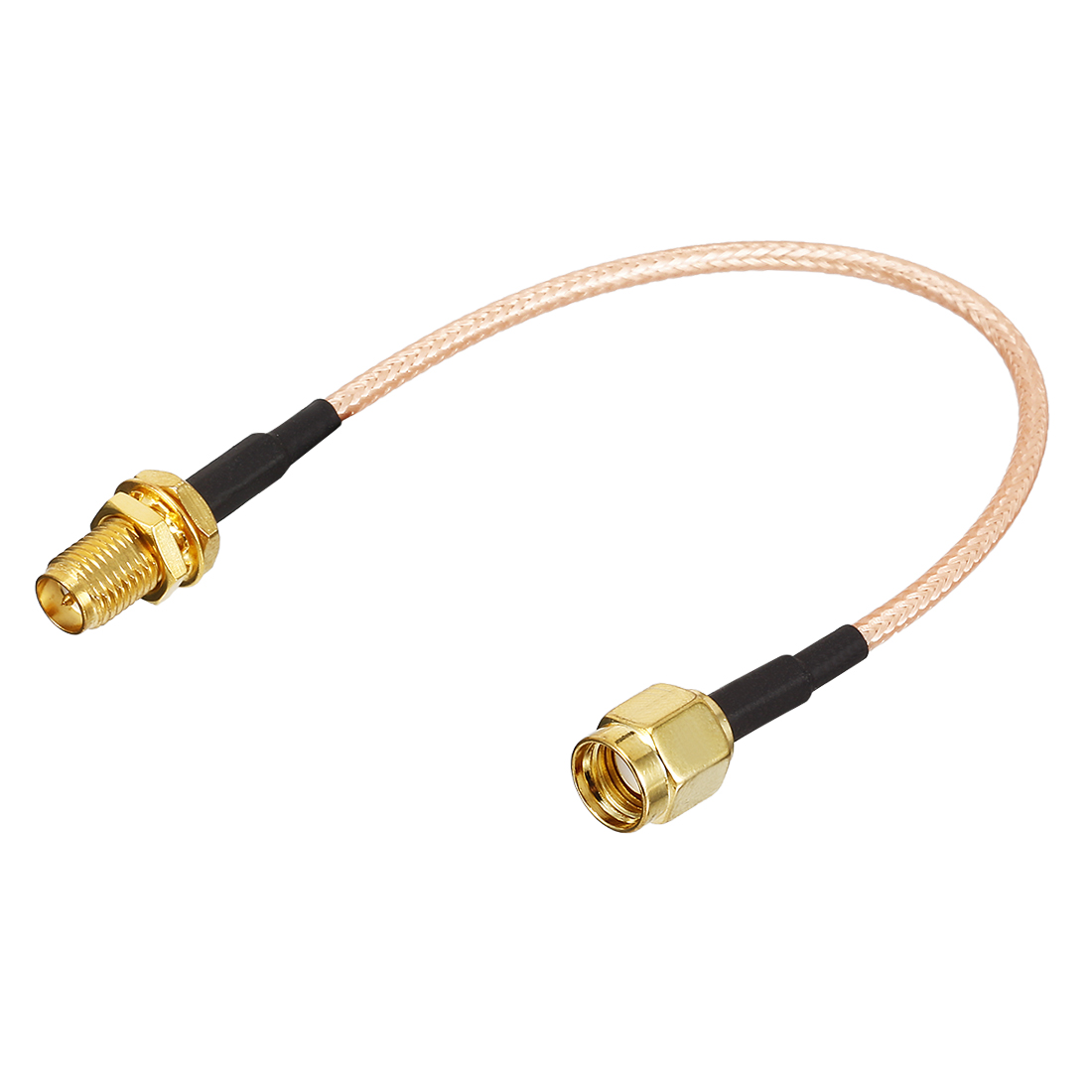 150mm Wire Long Gold Tone RP-SMA Female to RP-SMA Male Jack RF Adapter Connector