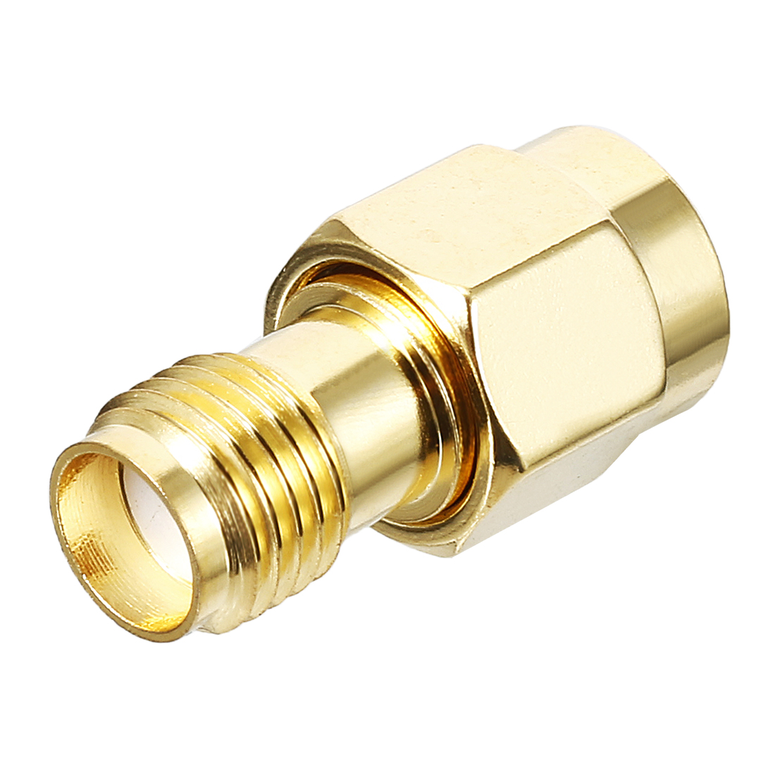 Gold Tone RP-SMA Male to SMA Female Jack RF Coaxial Adapter Connector 1000V