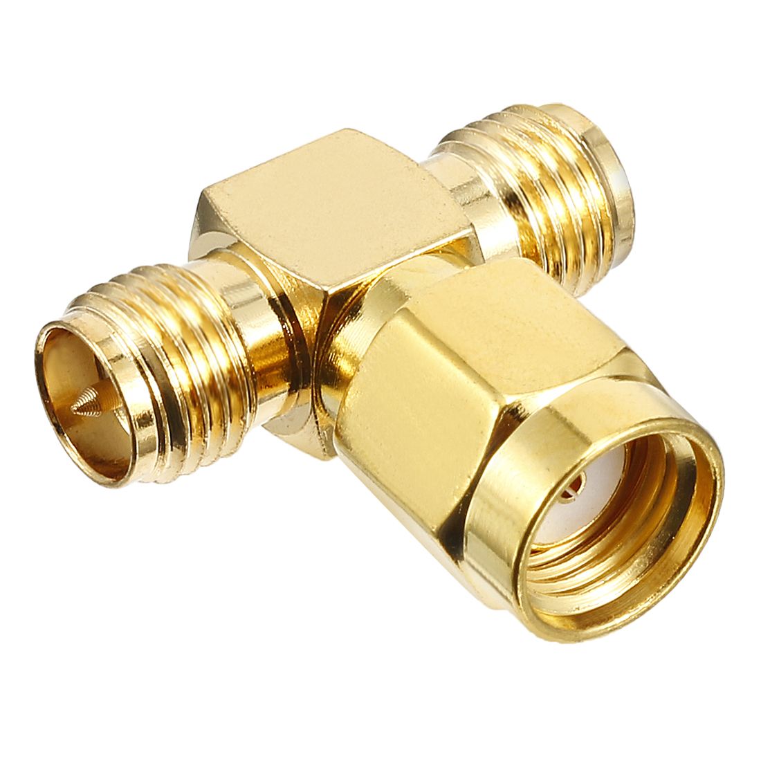 Gold Tone 3 Way RP-SMA Male to RP-SMA Female Jack RF Coaxial Connector Joiners