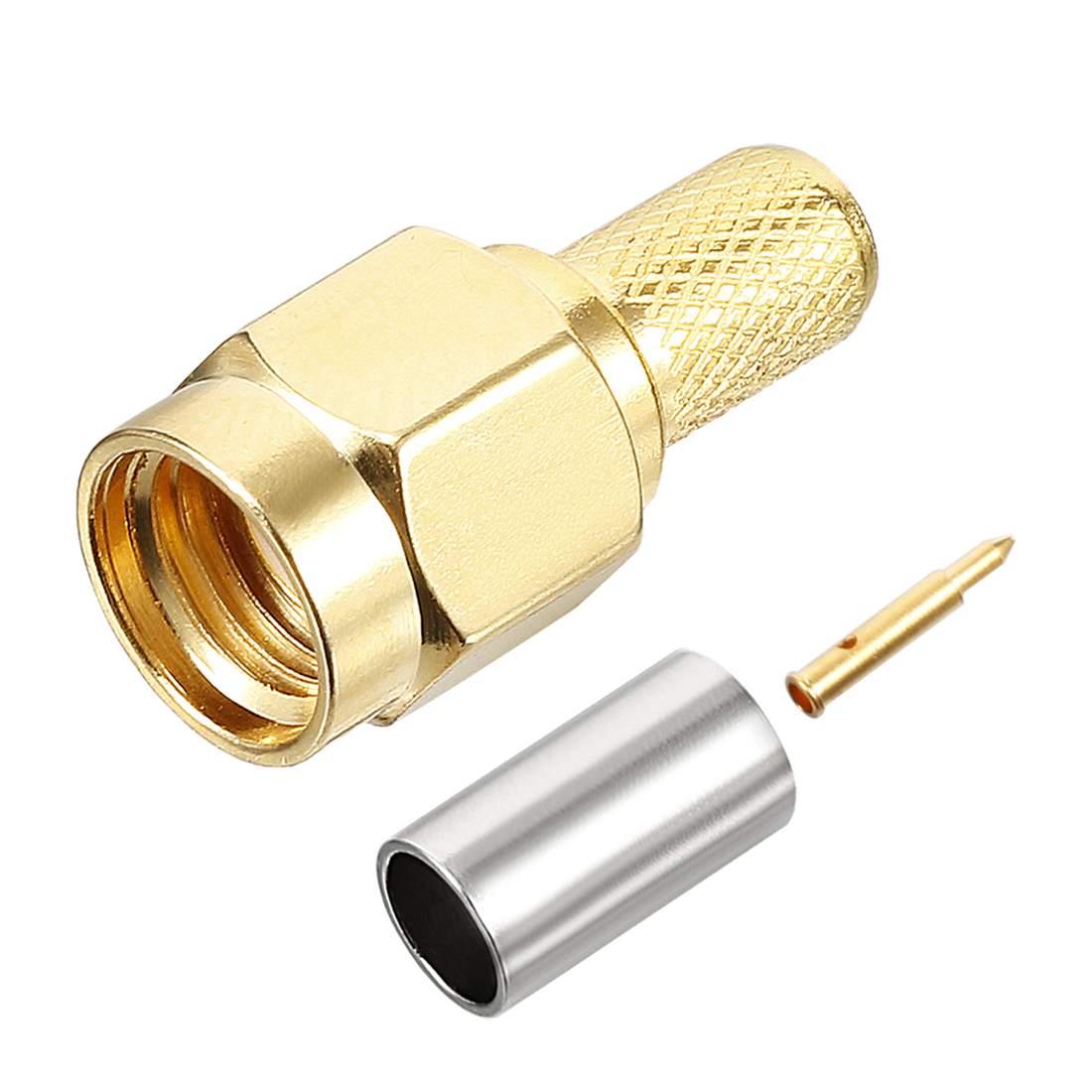 Gold Tone SMA Male Straight Jack RF Coaxial Adapter Connector Cable Extension