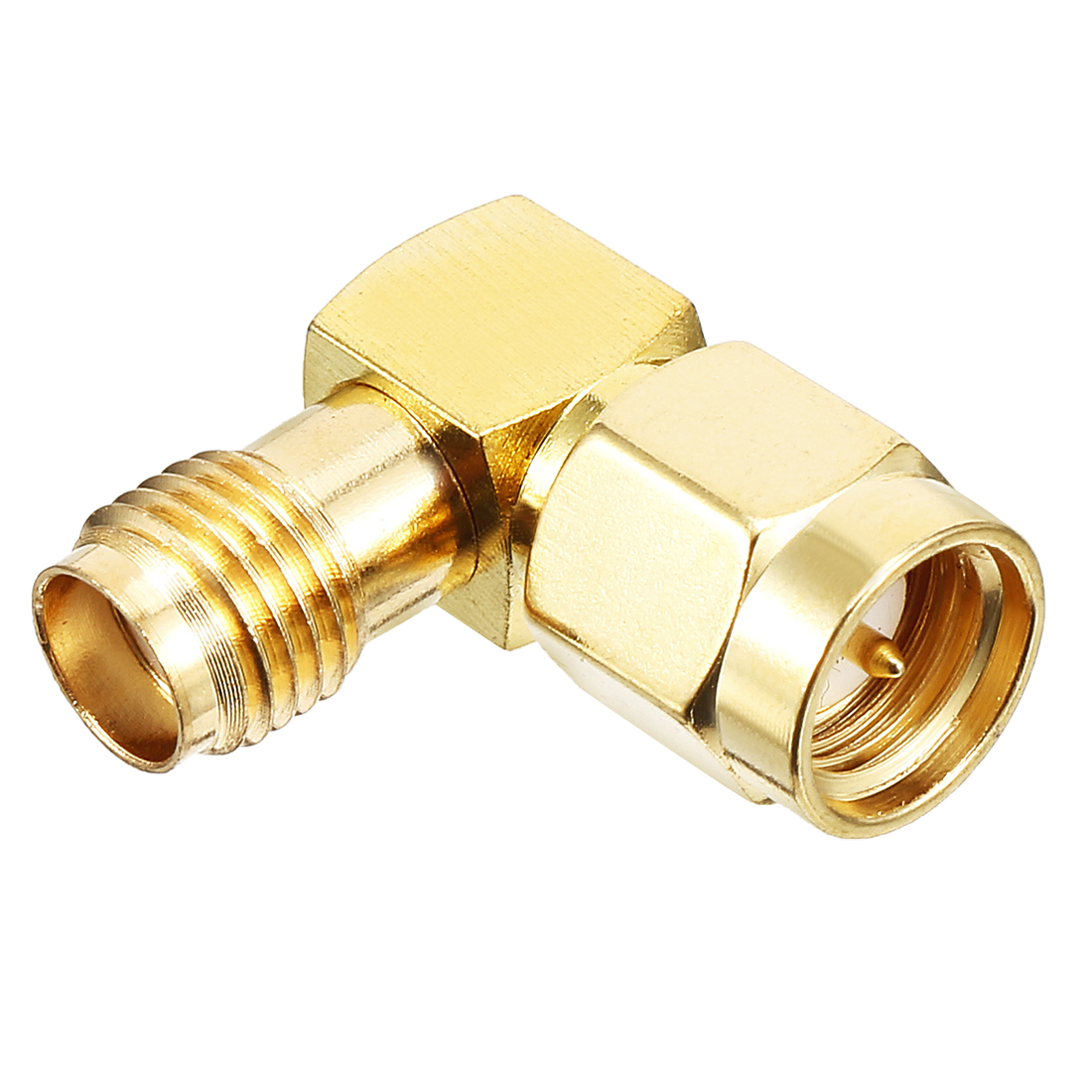 Gold Tone SMA Male to SMA Female Right-angle Jack RF Coaxial Adapter Connector