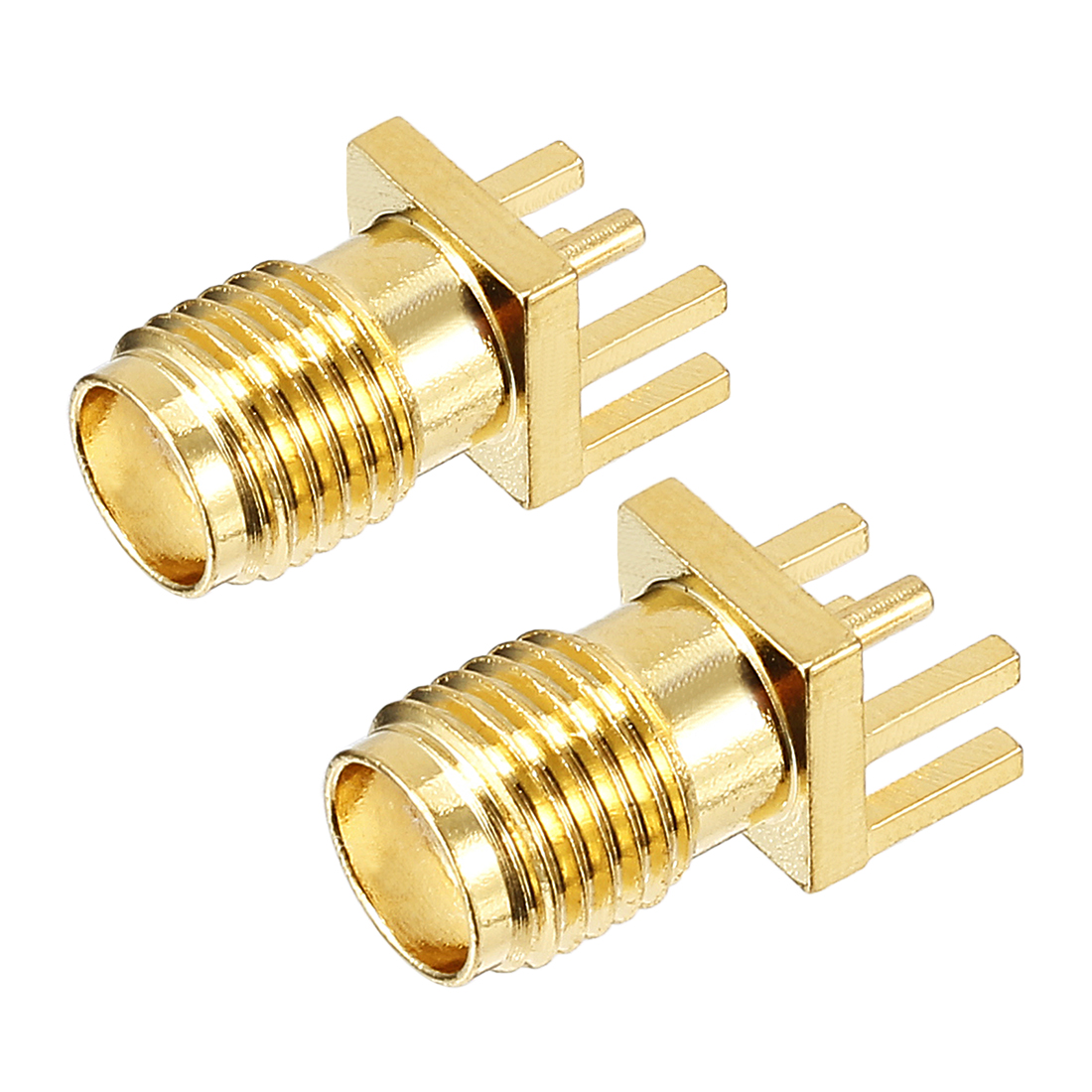 2pcs Gold Tone SMA Female to Offset Pin Jack RF Coaxial Adapter Connector