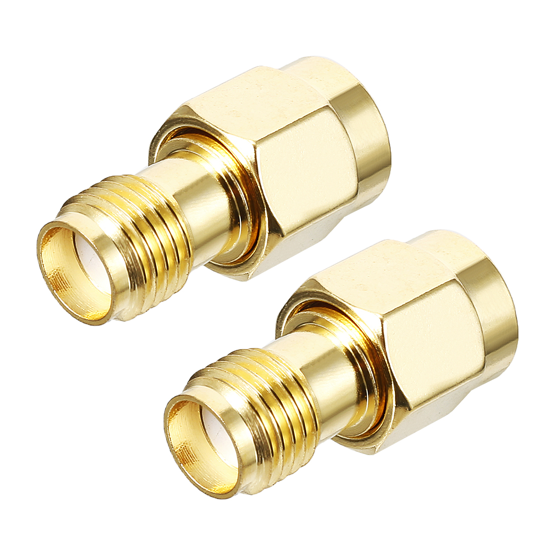 2pcs Gold Tone RP-SMA Male to SMA Female Jack RF Coaxial Adapter Connector
