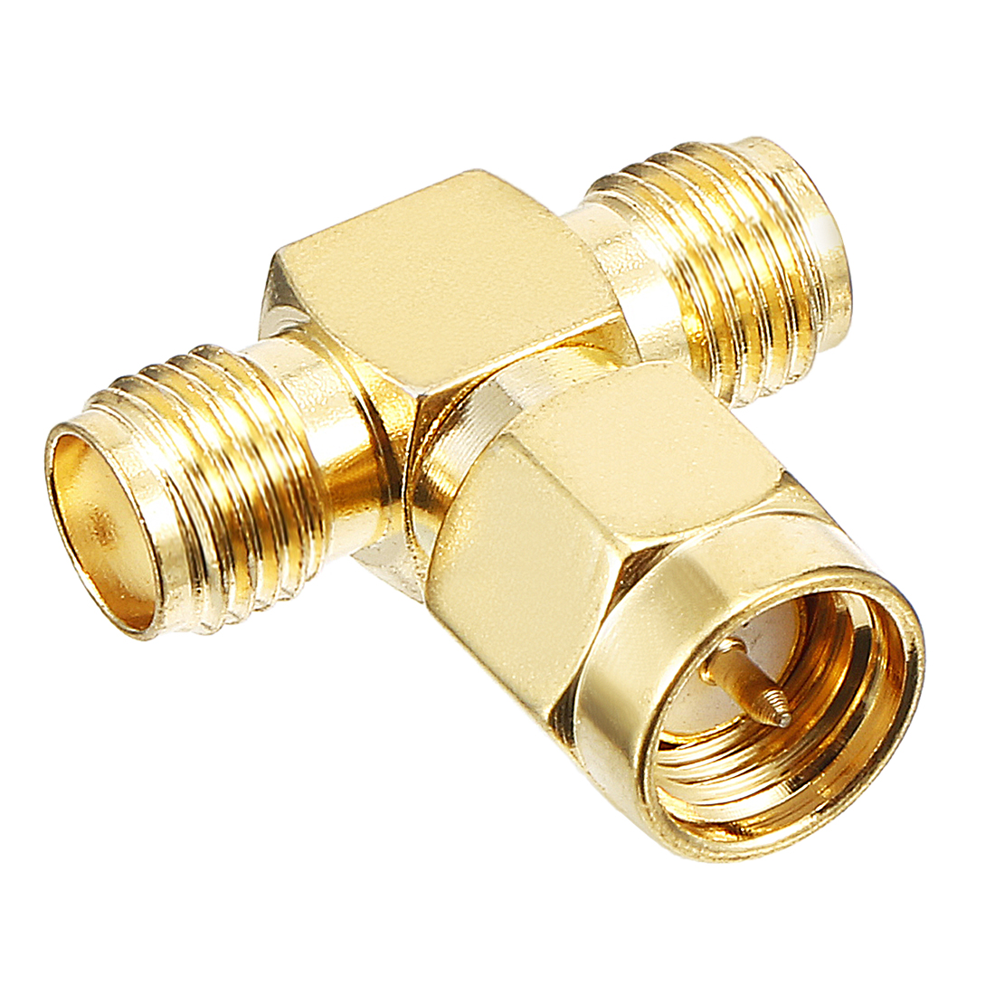Gold Tone 1 pcs 3 Ways SMA Male to SMA Female Jack RF Coaxial Adapter Connector