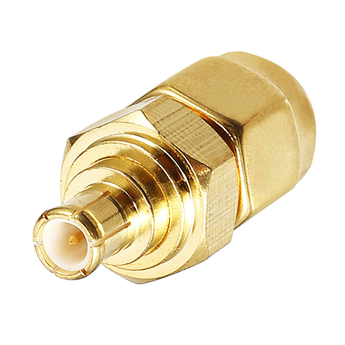 Gold Tone SMA Male to MCX Male Jack RF Coaxial Adapter Connector