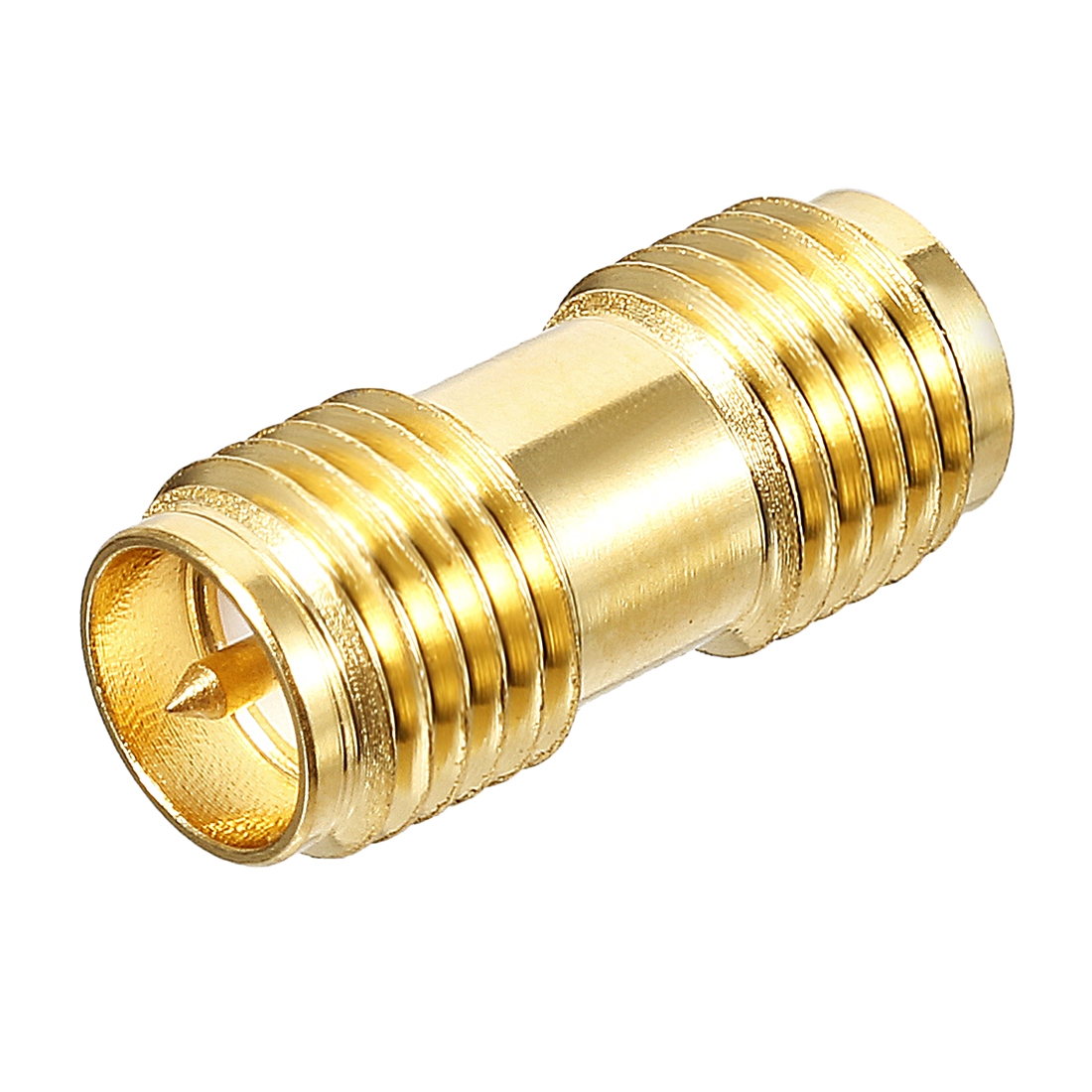 Gold Tone RP-SMA Female to RP-SMA Female Jack RF Coaxial Adapter Connector