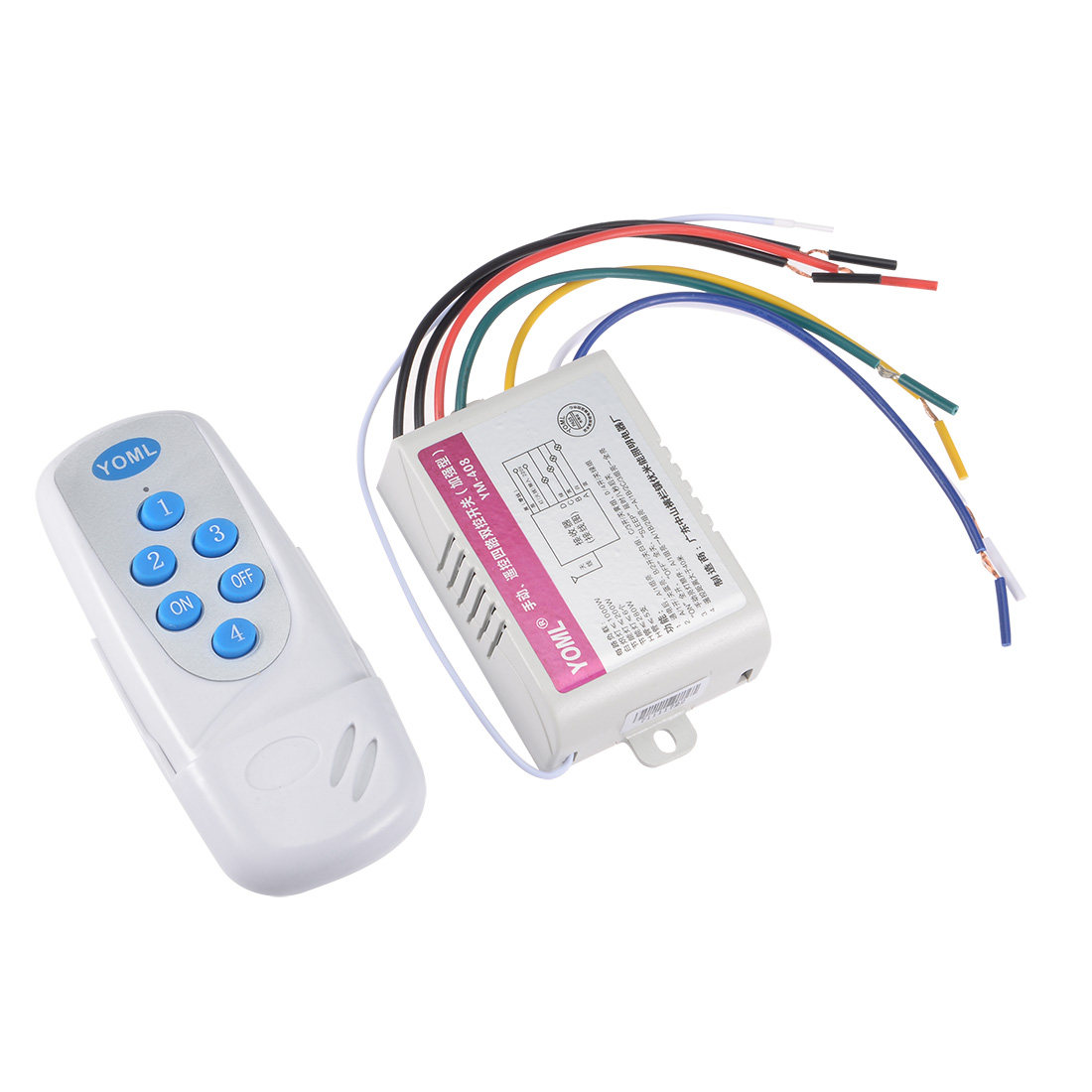 AC 220-240V 4 Port White Wireless Digital RC Remote Control Wall Lamp Switch