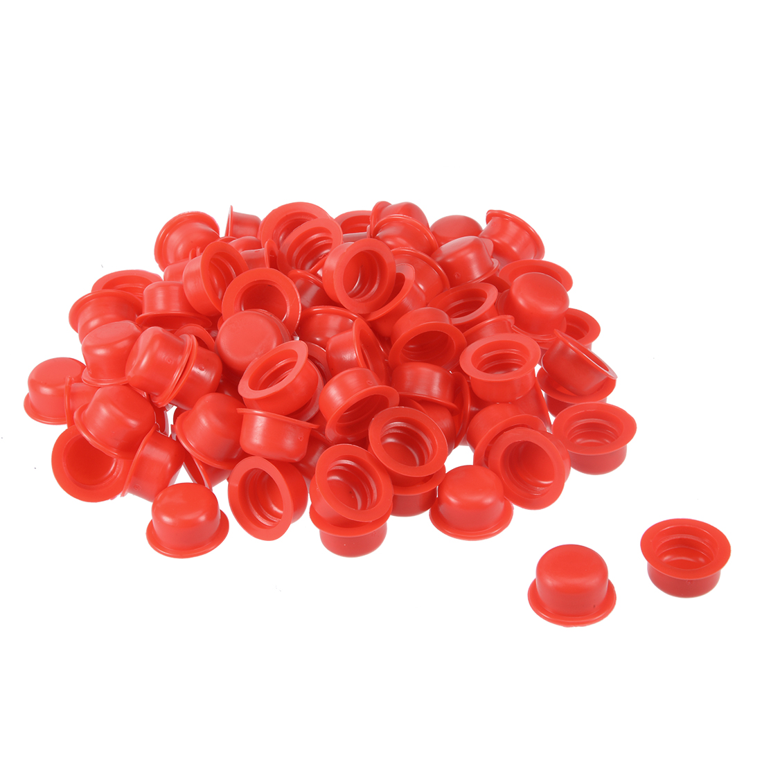 100pcs PVC G1/2 Round Head Threaded Hole Stoppers Waterproof Tapered Caps Red