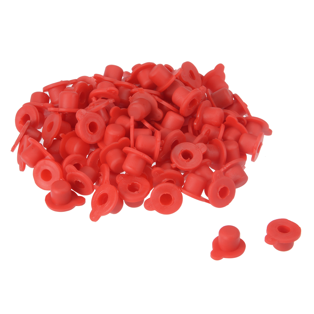 100pcs PVC M8 Round Head Threaded Hole Stoppers Waterproof Tapered Caps Red