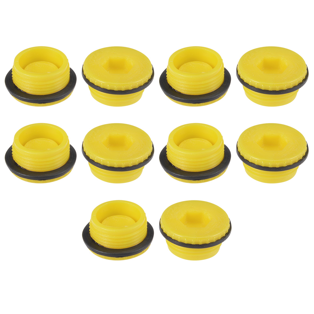 MLD-M22 M22 Hex Socket Design PE Plastic Male Threaded Sealing Cap Yellow 10pcs