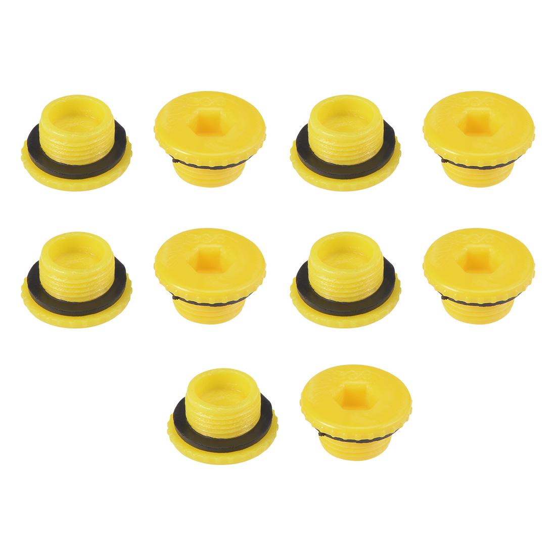 MLD-G3/8 G3/8 Hex Socket Design PE Male Threaded Sealing Cap Yellow 10pcs