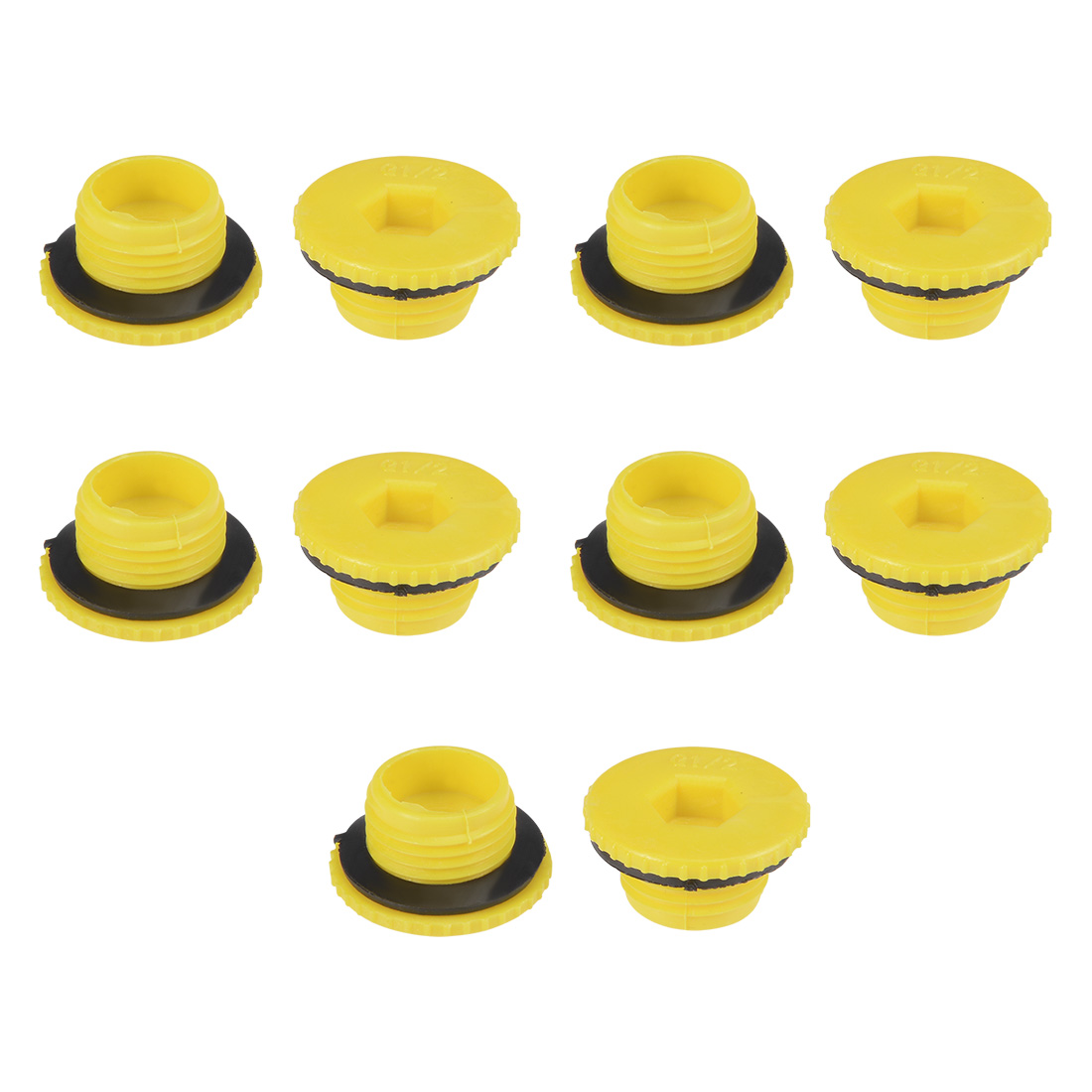 MLD-G1/2 G1/2 Hex Socket Design PE Male Threaded Sealing Cap Yellow 10pcs