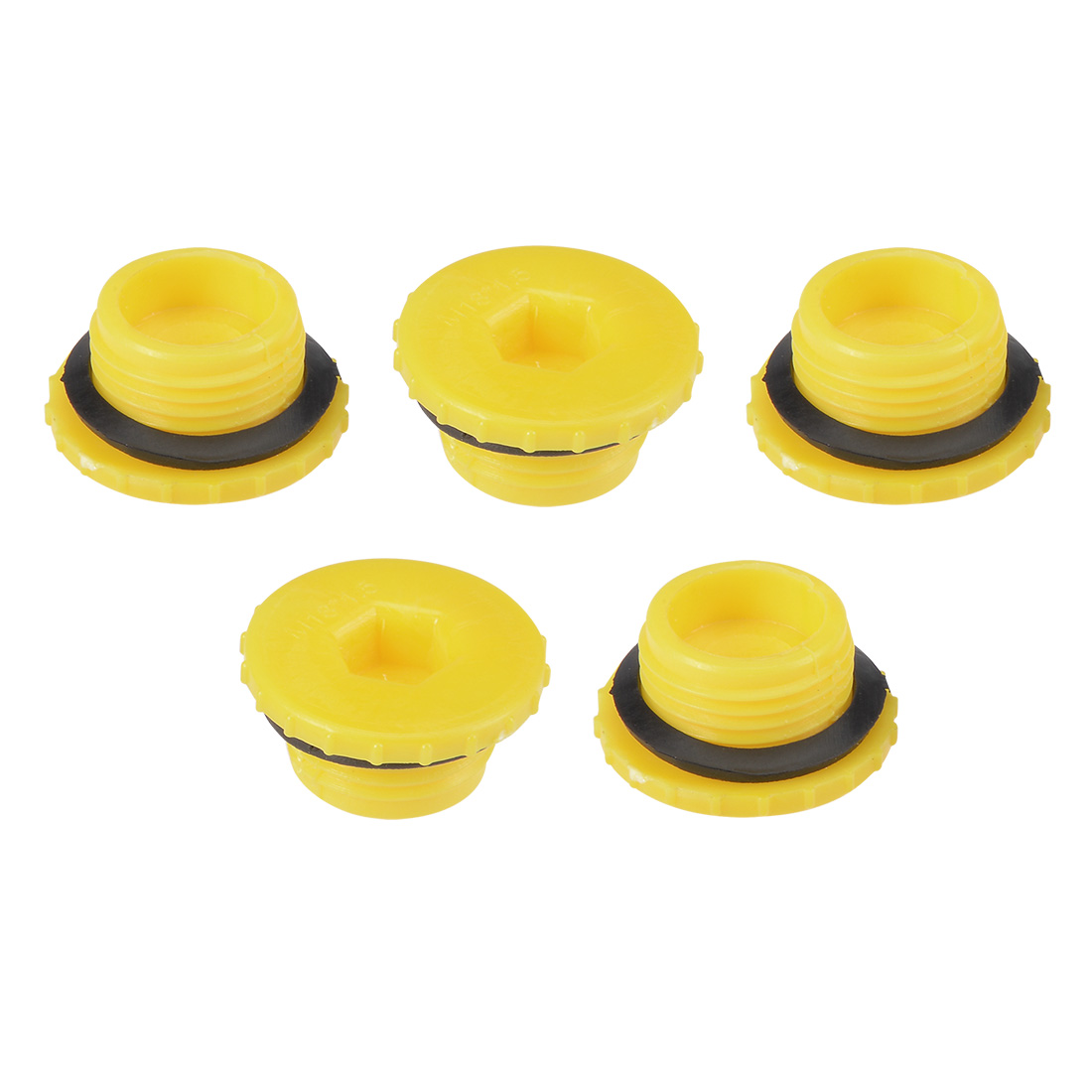 MLD-M18 M18 Hex Socket Design PE Plastic Male Threaded Sealing Cap Yellow 5pcs