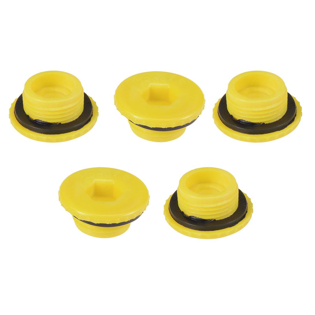 MLD-M20 M20 Hex Socket Design PE Plastic Male Threaded Sealing Cap Yellow 5pcs