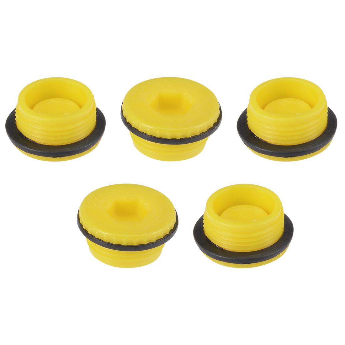 MLD-M22 M22 Hex Socket Design PE Plastic Male Threaded Sealing Cap Yellow 5pcs