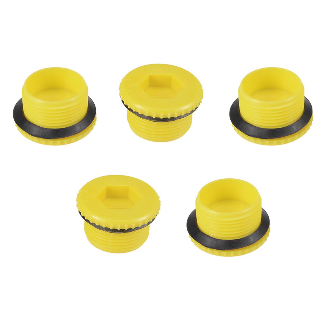 MLD-M24 M24 Hex Socket Design PE Plastic Male Threaded Sealing Cap Yellow 5pcs