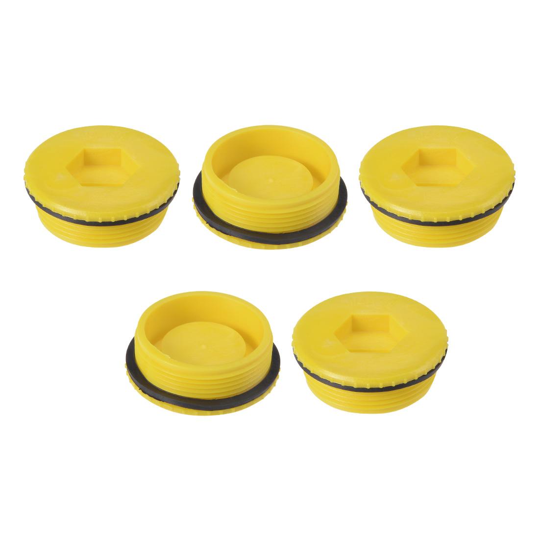 MLD-M48 M48 Hex Socket Design PE Plastic Male Threaded Sealing Cap Yellow 5pcs