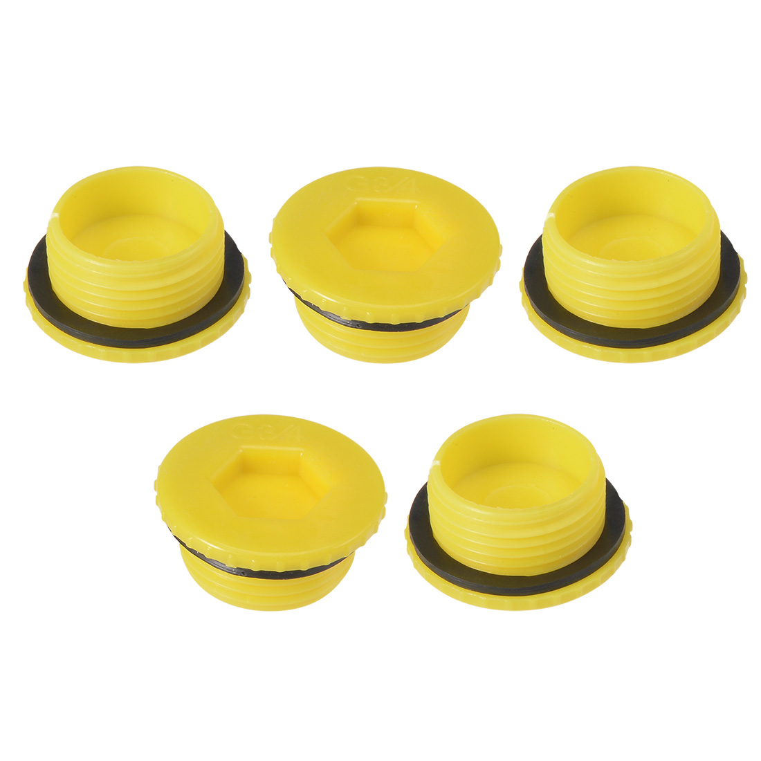 MLD-G3/4 G3/4 Hex Socket Design PE Plastic Male Threaded Sealing Cap Yellow 5pcs