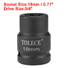3/4-inch Drive 18mm 6-Point Shallow Impact Socket, Cr-Mo Steel