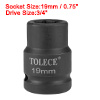 3/4-inch Drive 19mm 6-Point Shallow Impact Socket, Cr-Mo Steel