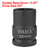 3/4-inch Drive 22mm 6-Point Shallow Impact Socket, Cr-Mo Steel