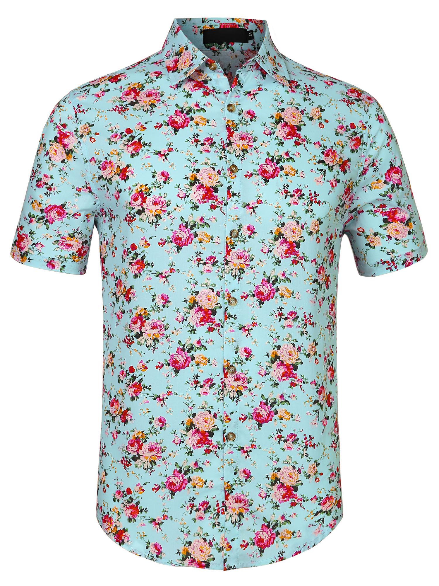 Men Flower Print Short Sleeve Button Front Cotton Hawaiian Shirt Mint S