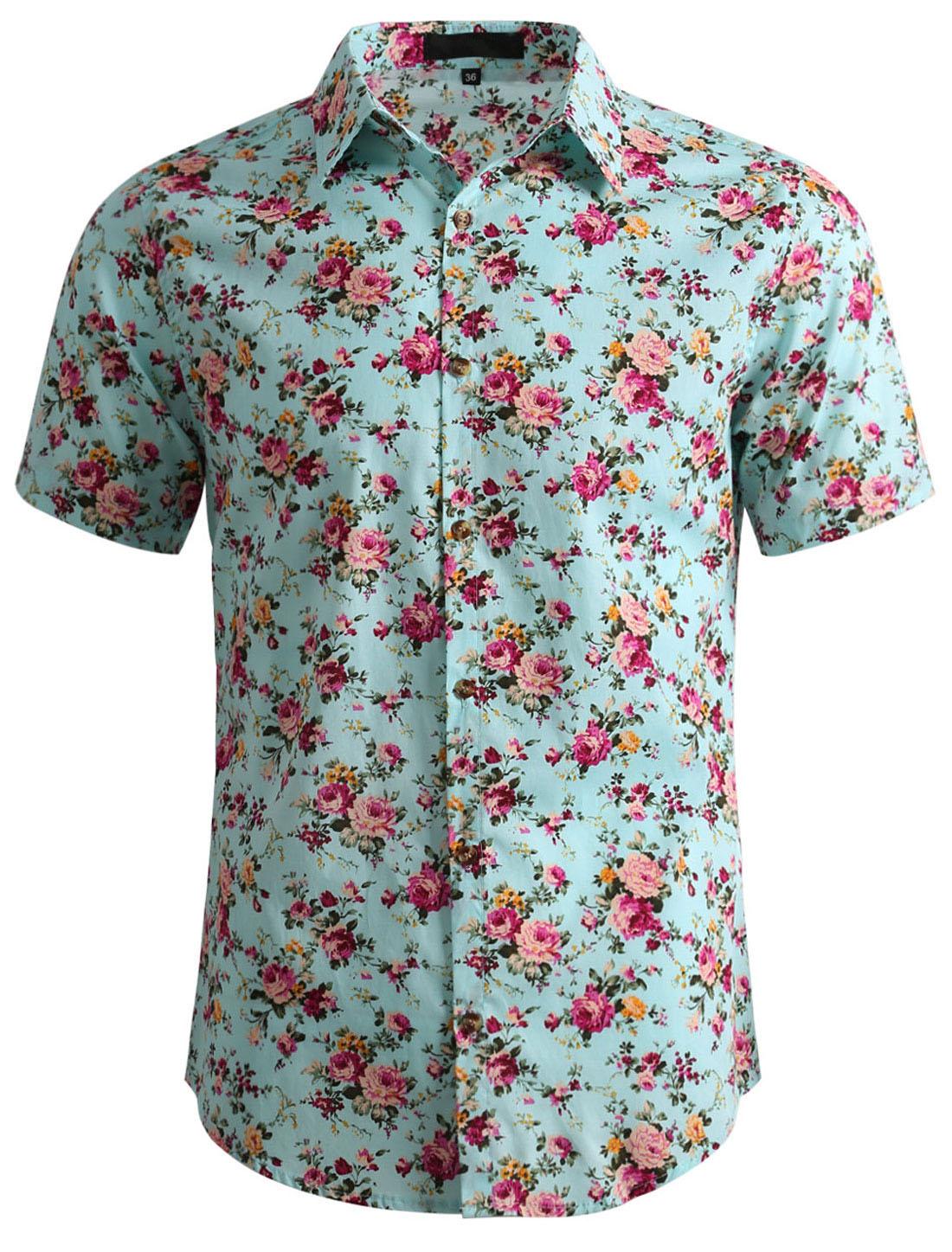 Men Floral Print Short Sleeve Button Front Cotton Hawaiian Shirt Mint M