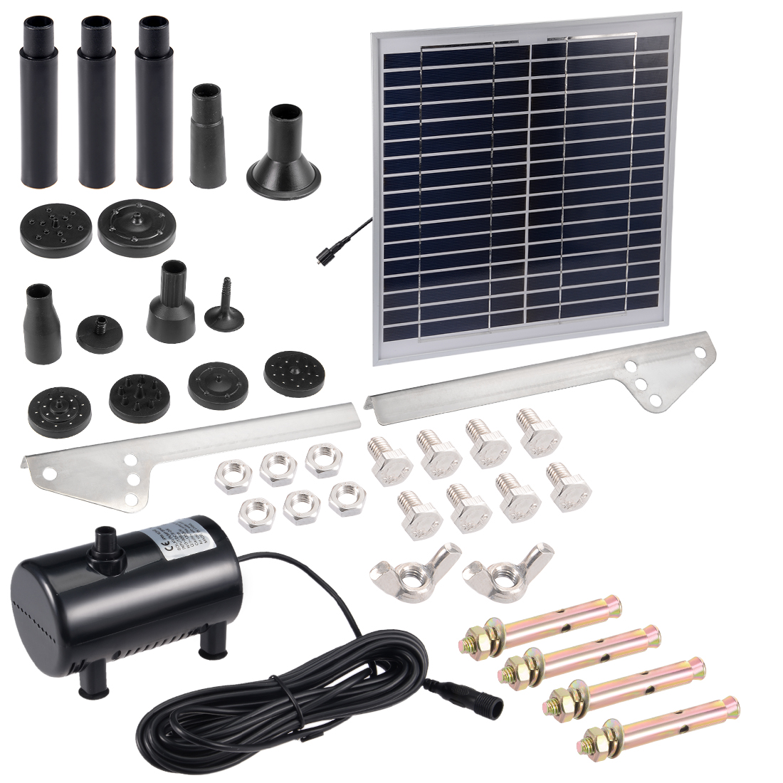 DC6-12V 15W Solar Power Fountain Water Pump Panel Kit Pool Pond Submersible