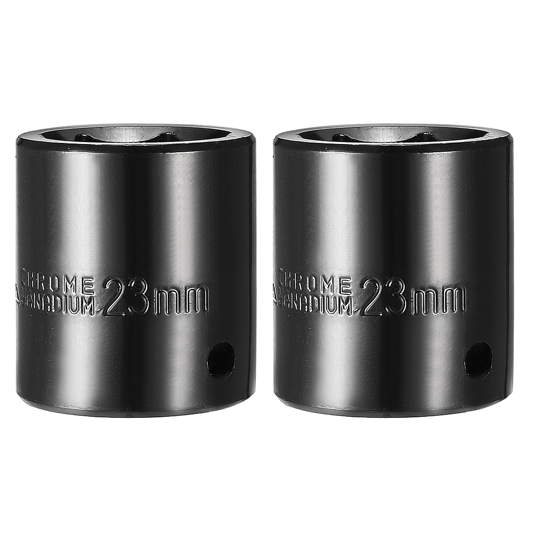 2pcs 1/2-inch Drive 23mm Metric 6-Point Shallow Impact Socket, Cr-V Steel