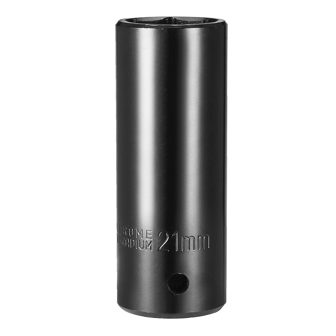 1/2-inch Drive 21mm 6-Point Deep Socket Black, Cr-V Steel
