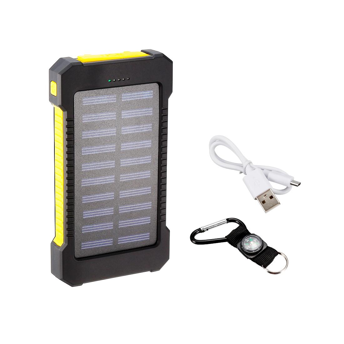 1.2W 8000mAh Solar Charger Dual USB Power Bank Battery Flashlight Yellow