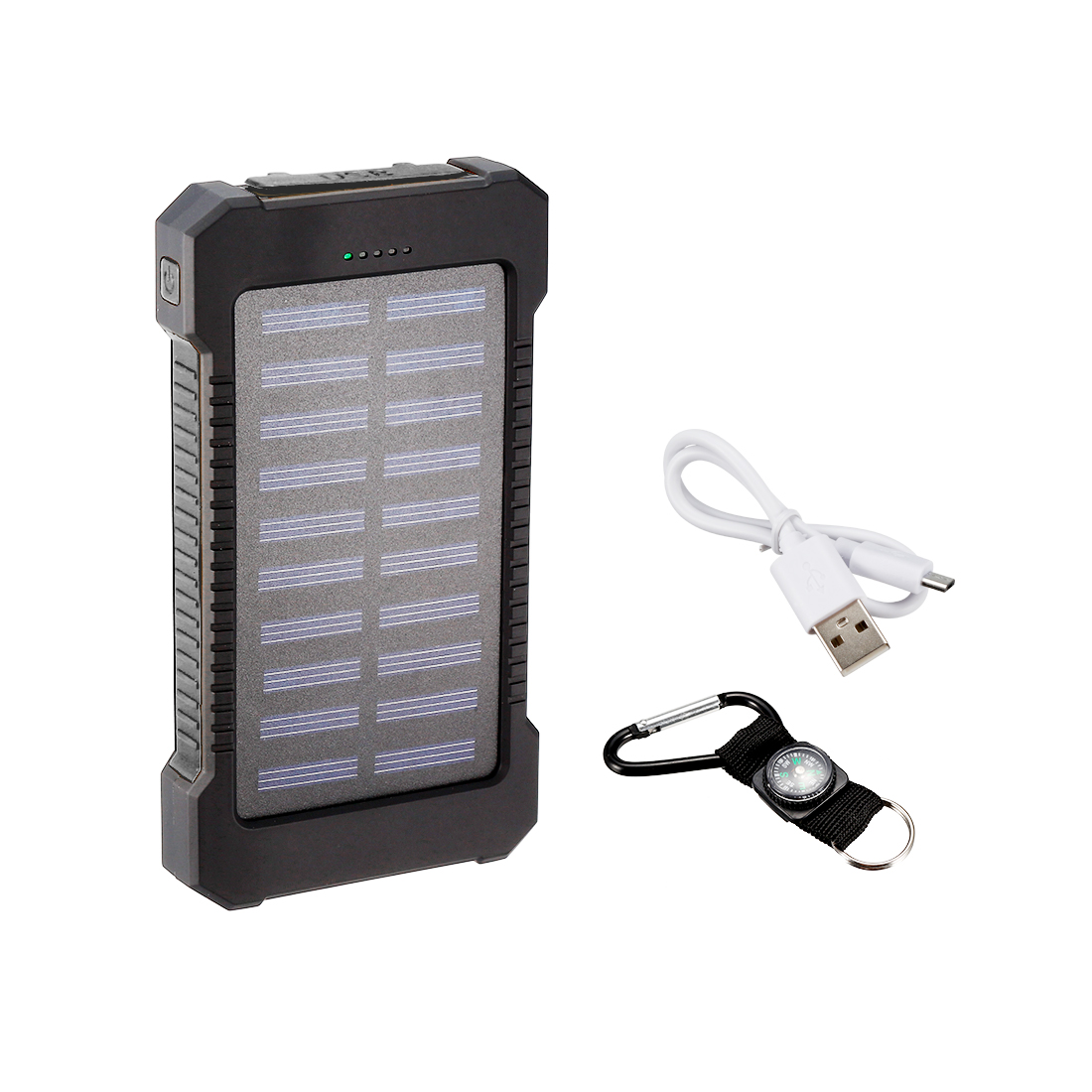 1.2W 8000mAh Solar Charger Dual USB Power Bank Phone Battery Flashlight Black