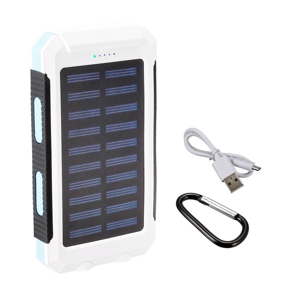 1.5W 8000mAh Solar Charger Dual USB Power Bank Phone Battery Flashlight Blue