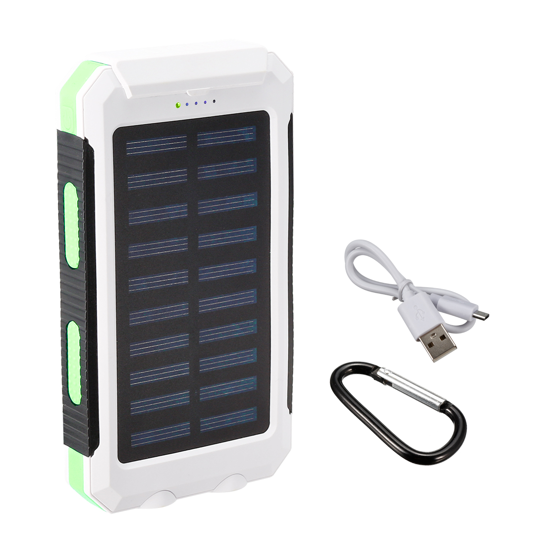 1.5W 8000mAh Solar Charger Dual USB Power Bank Phone Battery Flashlight Green